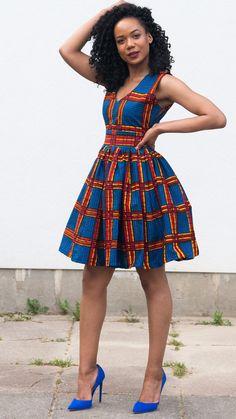 BILI mini dress. African print dress.