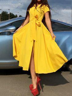 Turn Down Collar Belt Plain Maxi Dress – Bellalike