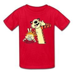 Kids Cartoon Calvin And Hobbes T-shirts Size S Red By Mjensen @ niftywarehouse.com #NiftyWarehouse #Nerd #Geek #Entertainment #TV #Products