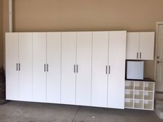 Tailored Living Garage Cabinets with shoe cubbies in Upper Arlington, Ohio