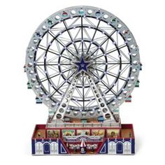 collectable! Mr. Christmas World's Fair Platinum Grand Ferris Wheel-Home $239.99