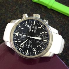 Fortis chronograph in for service. Always great to see watches worn in different ways, we really like this white strap. #Fortis #Watches