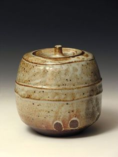Phil Rogers Lidded Jar Wood-fired Shino Glaze Stoneware:
