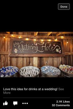 Country wedding drink place, Love the watering hole sign Farm Wedding, Wedding Bells, Dream Wedding, Wedding Day, Wedding Country, Wedding Ceremony, Trendy Wedding, Wedding Backyard, Magical Wedding