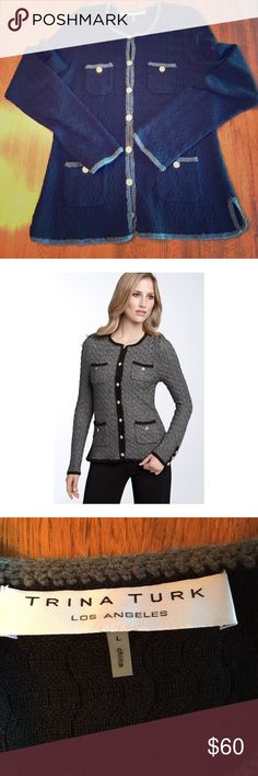 Trina Turk Vermouth Wool Cardigan, Gold Sz L Amazing condition Trina Turk 100% merino wool button down cardigan. This piece is so amazing and in EUC. Black with gray borders, this piece feature the most amazing gold buttons and detail. In ❤️! Trina Turk Sweaters Cardigans