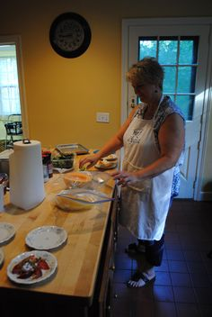 Innkeeper/Chef Lydia hard at work putting together a first course for breakfast.