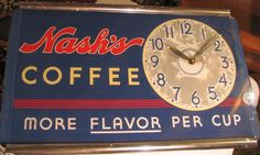 "Nash's Coffee Clock (Antique Country Store Advertising Clock, ""More Flavor Per Cup"", Vintage Beverage Wall Mount Clocks)"
