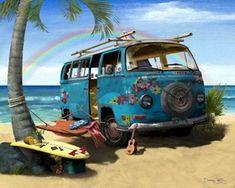 illustration of a dream. #hippie #vw #surf #beach   we hebben de auto al nu de rest nog