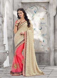 Pink Cream Georgette Net Wedding Saree