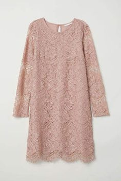 H&M Short Lace Dress - Vintage pink - Women Kebaya Modern Dress, Kebaya Dress, Kebaya Lace, Sewing Clothes Women, Dress Clothes For Women, Trendy Dresses, Nice Dresses, Short Dresses, Dresses Dresses