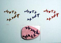 Etsy Birds in Flight Rubber Stamp Hand Carved Hand by DevonArtist