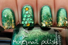 More Nail Polish: Aussie Christmas Challenge - Green. Tree made with rhinestones. Zoya Ivanka and Lynnderella Gold Rules.