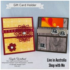 Click on the picture to see more of Angela\'s Projects. #stampinup #handmadecards #www.angelawestland.stampinup.net #giftcardholder #malethemed #femalethemed #guygreetings #woodtexturesdsp #birthdaymemoriesdsp #flourishingphrasesbundle