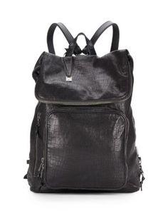 John Varvatos Croc-embossed Leather Backpack In Black Leather Backpack, Leather Bag, John Varvatos, Crocs, Secret Meeting, Backpacks, Mens Fashion, Handbags, Luxury