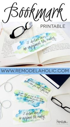 Easy, free printable bookmark for you or a friend with inspiring quotes to keep you in love with reading. Beautiful watercolor style to please any book-lover! Free Printable Bookmarks, Diy Bookmarks, Free Printables, Bookmark Ideas, Creative Bookmarks, Printable Tags, Book Crafts, Paper Crafts, Watercolor Bookmarks