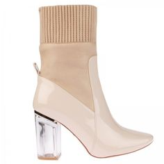 Thea High Ankle Boot In Nude Patent ❤ liked on Polyvore featuring shoes, boots, ankle booties, block heel boots, clear boots, nude boots, patent leather booties and block heel bootie