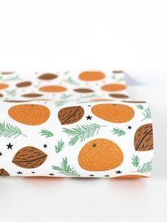 Mandarinen Weiss Geschenkpapier