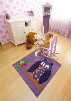 Sweet purple owl kids rug: Cuddly soft, stain resistant and allergy friendly. The children's handmade rug from Arte Espina has a special bonus: a movable beak of felt! Owl Rug, Owl Kids, Carpets For Kids, Childrens Rugs, Kids Line, Tapis Design, Kids Bedroom Furniture, Bedroom Ideas, Hand Tufted Rugs