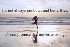 it's not always rainbows and butterflies it's compromise that moves us along