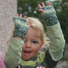 Kids Fingerless Gloves, measure the width of the kids hand at the thumb knuckle, thats how wide the wrist needs to be for the kid to be able to put them on, unless you use a stretchy yarn.