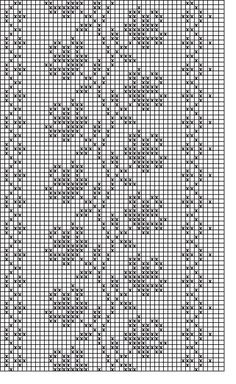 Filet crochet roses on a vine chart