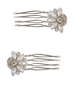 2 x Crystal Hair Comb | Silver | Accessorize