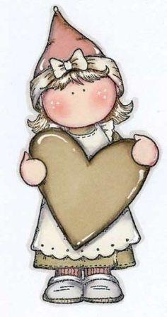 menina segurando coração imagens decoupage: