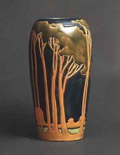 Vase with Landscape (about 1914-1917), Glazed orange-red terra-cotta earthenware, Designed and executed by Frederick Hurten Rhead.