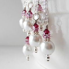 Weddings, Bridesmaid Necklaces, Beaded Jewelry, White Pearl Pendant with Magenta Pink Crystals on Silver Chain, Handmade Jewelry