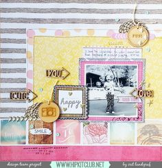 Aurora's Land: Layout Using the April Hip Kit Club Kits + Process Video Scrapbook Page Layouts, Scrapbook Cards, Scrapbooking Ideas, Hip Kit Club, How To Introduce Yourself, Card Making, Paper Crafts, Projects, 4 Life