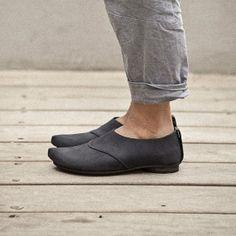 SALE Black moccasin shoes Flat shoes designer by WalkByAnatDahari, $123.00