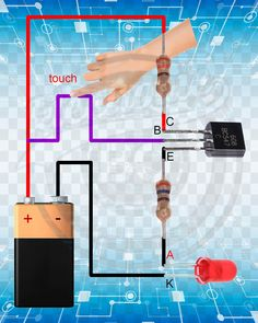 me ~ Touch Sensor. Electronics Projects, Simple Electronics, Electrical Projects, Electronics Components, Hobby Electronics, Electronics Gadgets, Electronic Circuit Design, Electronic Engineering, Electrical Engineering