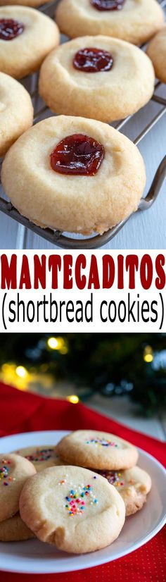 Tender, buttery, crisp Puerto Rican cookies called Mantecaditos (also Polvorones) are perfect for Christmas with sprinkles or guava paste! Cookie Desserts, Easy Desserts, Cookie Recipes, Delicious Desserts, Dessert Recipes, Yummy Food, Guava Recipes, Cuban Recipes, Sweet Recipes