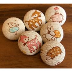 Little Forest Friends fabric covered boutique buttons by aimoobaroo  #sewing #buttons #embellishments