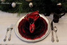 Welcome to this week's Christmas table,   it features Avon's Cape Cod.         If you haven't seen them before, they are a dark ruby color...