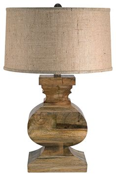 Country - Cottage Solid Wood Square Block with Burlap Shade Table Lamp - eclectic - table lamps - Lamps Plus
