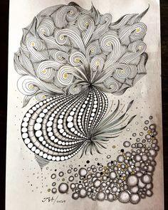 Zentangle-Zeichnung, DinA4, Papier grau