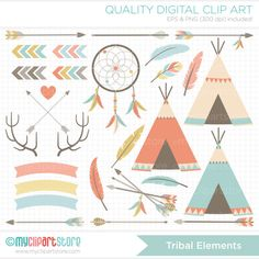 Clipart - Tribal Elements / American Indian Digital Clipart - Digital Clip Art (Instant Download)