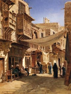 """Street in Boulaq near Cairo"" by John Varley II (1881)"