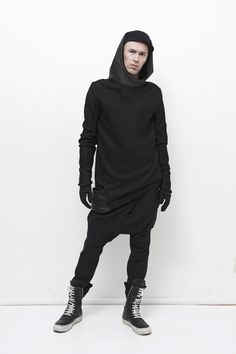 Black hoodie fashion leather details