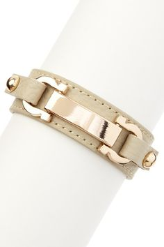 Gold & Linen ID Bar & Horseshoe Leather Bracelet by Olivia Welles on @HauteLook