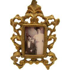 Victorian Rococo Brass Over Cast Iron Ornate Picture Frame