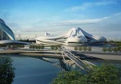 Changsha Meixihu International Culture and Art Centre,Courtesy of Zaha Hadid Architects