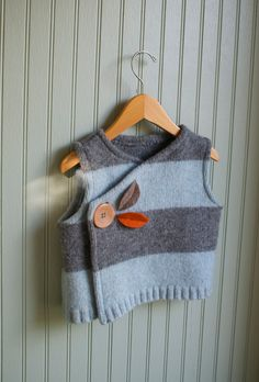 Stripey Vest made from Recyled Lambswool//35 year size by rompshop