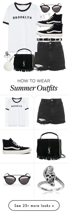 """""""Outfit for summer with shorts"""" by ferned on Polyvore featuring Topshop, Zara, Yves Saint Laurent, Tressa, Michael Kors, Vans, Christian Dior and French Connection"""