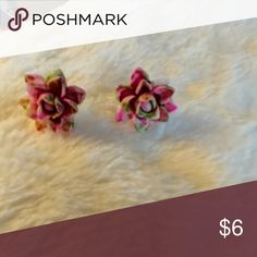 """🎉Handmade! new!!! Watercolor Flowers Earrings Handmade one of a kind multiple pairs available but each pair is different due to the handpainting. About .25"""" diameter. Dainty but beautiful!! Absolutely beautiful!!!! Other color combos available in my closet as well. Stainless steel posts.  Great for all ages.  B13 Jewelry Earrings"""