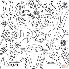 Huichol Art - Abstract Figures   Super Coloring