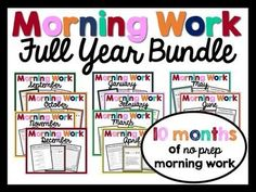 Morning Work :: This a FULL YEAR'S worth of Morning Work for Upper Elementary! There are 10 months of activities and writing prompts total! Weekdays are themed to help students work on Common Core aligned writing & language skills. Answer keys are included when necessary.
