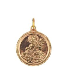 Two sided Green Tara and Mantra Copper Pendant