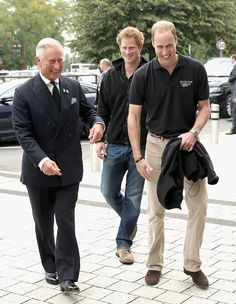 Prince William, Duke of Cambridge his brother Prince Harry and their father Prince Charles, Prince of Wales arrive for the athletes during the Invictus Games athletics at Lee Valley on September 11, 2014 in London, England. The International sports event for 'wounded warriors', presented by Jaguar Land Rover, is just days away.